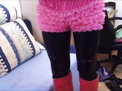red boots leggings