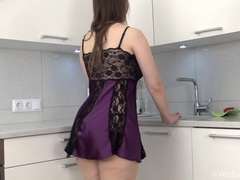 Beata strips nude in her kitchen to unwind