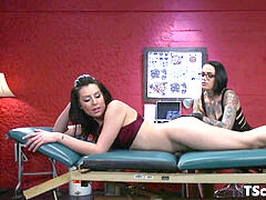 transsexual sweetheart Cocksucked By nymph Tattoo Artist