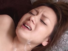 Japanese hottie squirts and gets gangbanged