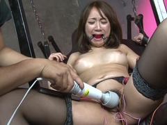 Nice Japanese girl in stockings forcibly involved in BDSM action