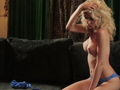 Solo striptease & fingering with curly blonde Jennifer on her leather sofa