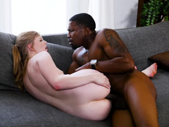 Slender white cutie wants to experience sex with handsome black guy