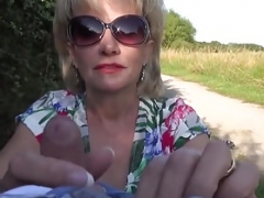 UK Soccer mom Sonia shows her boobs in public and sucks love tool