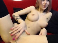 Broads Out West Slightly fat amateur blonde toys her pinky muff