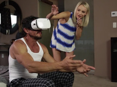 Sexy blonde helps macho enjoy virtual reality and sex