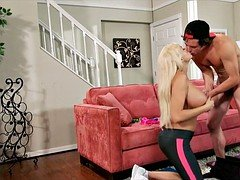 Fitness Blonde Blows Young-looking Dude