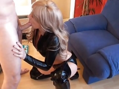 Attractive Slut In Black Latex Top and Thigh Boots Fucked and Tit