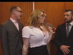 Secretary floozy Balance Reigns has a threesome in the elevator