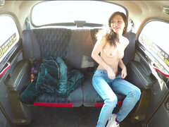 Arian Joy strips naked & fucks in the cab backseat