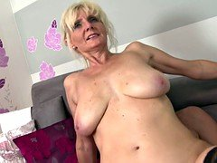 Super mom with huge saggy jugs takes young-looking cum cannon