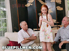 BLUE PILL MEN - older boys Frankie and Duke play With Petite Redhead Dolly Little