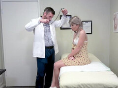 Cute little blonde Vienna Rose cums all over doctor's dick