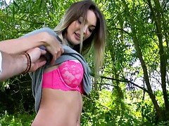 Big breasts Czech babe railed in the woods
