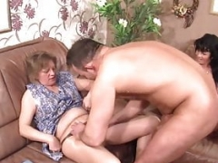 Aged granny wife watches her husband cheat