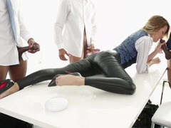Jessica Drake blows off three huge fuck poles in sexy leather pants