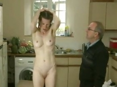 dad spanks   more seasoned daughter in the kitchen