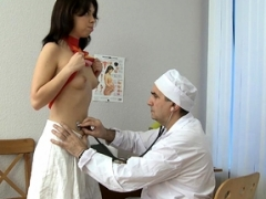 Sexy playgirl is showing her glabrous love hole to her doctor