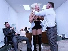 Sexy secretary discovers her pink slit can swallow a couple of