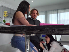 Buxom latinas Serena Santos and Vanessa Sky take turns sucking and fucking the lucky tutor