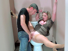 Clothed whore Sunny Lane spreads her legs and gets slammed in the toilet