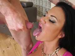 Hot dark-haired Mom i`d like to fuck seduces lad & gets revised by him