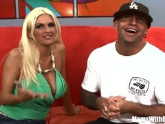 Dude picks up blonde Rhyse Richards to fuck her on red sofa