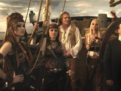 Horny pirate bangs two good looking brunettes