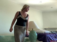 Guy fucks stepmom who is stuck under the table