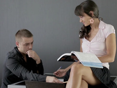 A sexy tutor is getting her fuck hole rammed by her student in this section