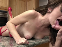 Foxy housewife and additionally her stepson have fine sex in cuisine