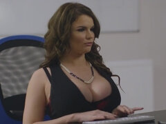 Busty Tasha Holtz talking dirty during a naughty fuck in the office