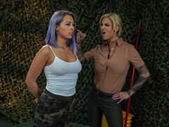 Two girlfriends Bonnie Rotten and Zoey Monroe are enjoying dirty lesbian sex
