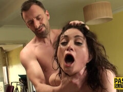 Squirting sub rides chopper - hard core