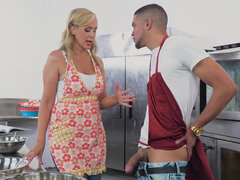 "Sultry Blonde MILF Kitchen Sex At Brazzers ""Glazed and Cumfused"""