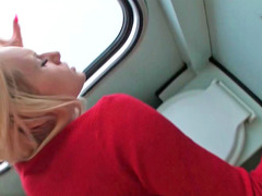Attractive blonde is fucked in the train toilet