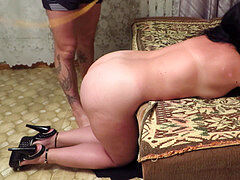 spanking mature auntie with massive bra-stuffers!