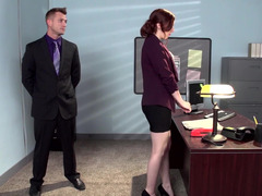 A redhead that has a hirsute fuck hole is getting fucked in the office