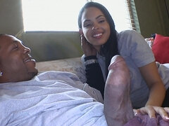 Big black monster cock slamming Angelina Stolie's hot wet mouth & pussy