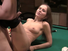 Prostitute does her dirty job well on the billiard table