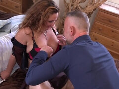 Huge-Titted, crimson haired dame, Carina cheated on her spouse with one of his finest pals
