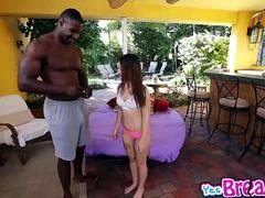 Kylie Rose swallows a big black monster purple rod