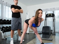 Good-looking brunette Kendra Lust is enjoying sex in the gym