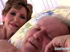 Granny leaves her husband sleeping and seducing a less seasoned stud