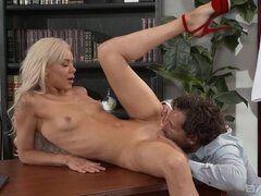 Naughty Nurse Elsa Jean rides the good doctors cock and swallows!