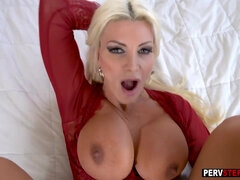 Nasty blonde stepmom took a stepsons thing and used it