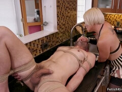 Blonde Milf whips submissive man