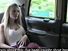 Blonde Brit gives rimjob and furthermore have an intercourse in fake cab