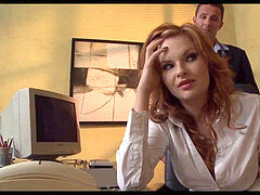 ginger-haired honey gets bone at Office