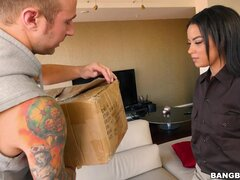 Dude fucks delivery girl for having his package spoiled